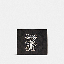 COACH F88356 Id Billfold Wallet In Signature Canvas With Party Rat Print QB/BLACK/BLACK MULTI