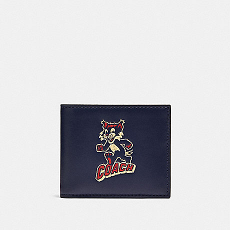 COACH F88357 ID BILLFOLD WALLET WITH PARTY CAT PRINT QB/CADET MULTI