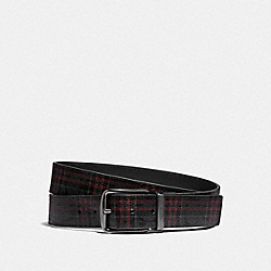COACH F88442 Harness Buckle Cut-to-size Reversible Belt With Shirting Plaid Print, 38mm QB/BLACK RED MULTI