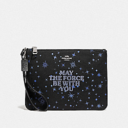COACH F88485 Star Wars X Coach Gallery Pouch With May The Force Be With You SV/BLACK MULTI