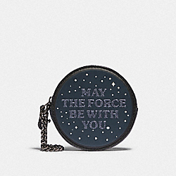 COACH F88491 Star Wars X Coach Round Coin Case With May The Force Be With You QB/MULTICOLOR