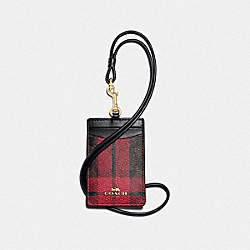 COACH F88495 Id Lanyard In Signature Canvas With Field Plaid Print IM/BROWN TRUE RED MULTI