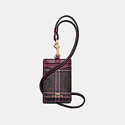 COACH F88496 Id Lanyard In Signature Canvas With Shirting Plaid Print IM/BROWN FUCHSIA MULTI