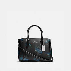 MINI SURREY CARRYALL WITH VICTORIAN FLORAL PRINT - F88562 - SV/BLUE BLACK MULTI