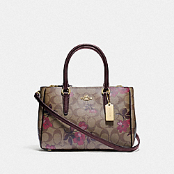MINI SURREY CARRYALL IN SIGNATURE CANVAS WITH VICTORIAN FLORAL PRINT - F88563 - IM/KHAKI BERRY MULTI