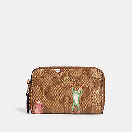COACH F88575 ZIP AROUND COIN CASE IN SIGNATURE CANVAS WITH PARTY ANIMALS PRINT IM/KHAKI-PINK-MULTI