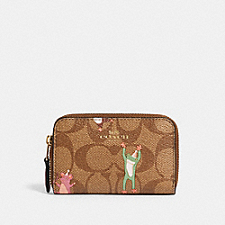 ZIP AROUND COIN CASE IN SIGNATURE CANVAS WITH PARTY ANIMALS PRINT - F88575 - IM/KHAKI PINK MULTI