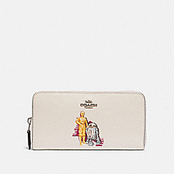 COACH F88587 - STAR WARS X COACH ACCORDION ZIP WALLET WITH C-3PO AND R2-D2 SV/CHALK MULTI