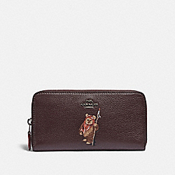 STAR WARS X COACH ACCORDION ZIP WALLET WITH EWOK - F88588 - QB/OXBLOOD MULTI