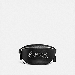 COACH F88875 - BELT BAG WITH STUDDED COACH SCRIPT SV/BLACK