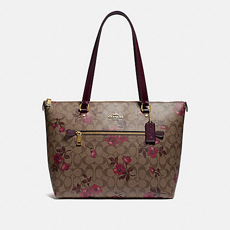 COACH F88876 GALLERY TOTE IN SIGNATURE CANVAS WITH VICTORIAN FLORAL PRINT IM/KHAKI-BERRY-MULTI