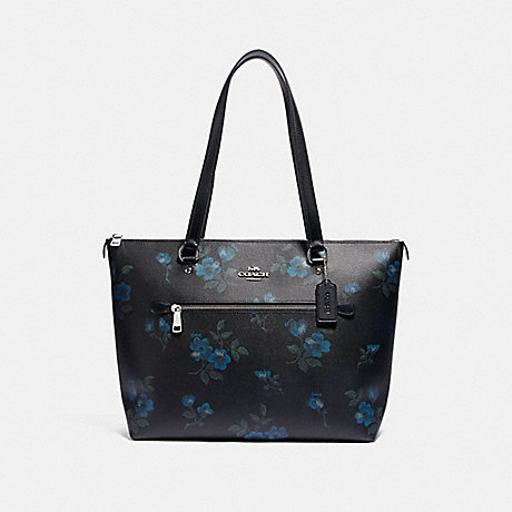 COACH F88877 GALLERY TOTE WITH VICTORIAN FLORAL PRINT SV/BLUE-BLACK-MULTI