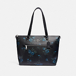 GALLERY TOTE WITH VICTORIAN FLORAL PRINT - F88877 - SV/BLUE BLACK MULTI