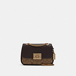 MINI CASSIDY CROSSBODY IN SIGNATURE CANVAS - F88880 - IM/KHAKI OXBLOOD MULTI