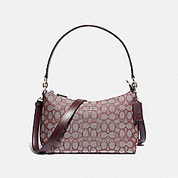 LEWIS SHOULDER BAG IN SIGNATURE JACQUARD - F88899 - SV/RASPBERRY