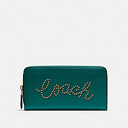 COACH F88904 - ACCORDION ZIP WALLET WITH STUDDED COACH SCRIPT IM/VIRIDIAN