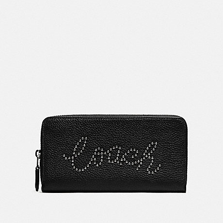COACH ACCORDION ZIP WALLET WITH STUDDED COACH SCRIPT - SV/BLACK - F88904