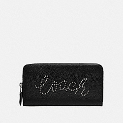ACCORDION ZIP WALLET WITH STUDDED COACH SCRIPT - F88904 - SV/BLACK