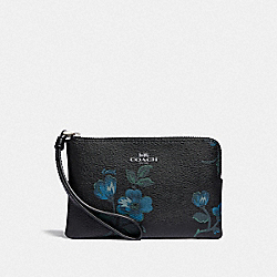 COACH F88905 - CORNER ZIP WRISTLET WITH VICTORIAN FLORAL PRINT SV/BLUE BLACK MULTI
