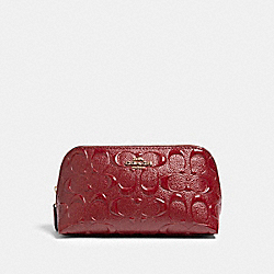 COACH F88908 - COSMETIC CASE 17 IN SIGNATURE LEATHER IM/CHERRY