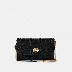 CHAIN CROSSBODY IN SIGNATURE LEATHER - F88909 - IM/BLACK