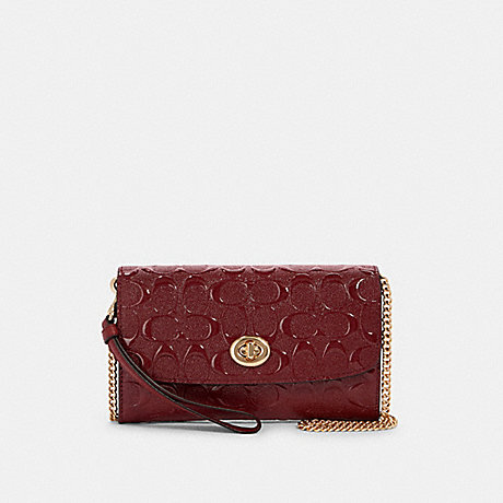 COACH F88909 CHAIN CROSSBODY IN SIGNATURE LEATHER IM/CHERRY