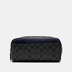 COACH F88910 Dopp Kit In Colorblock Signature Canvas QB/CHARCOAL CADET