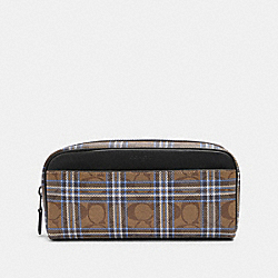 DOPP KIT IN SIGNATURE CANVAS WITH SHIRTING PLAID PRINT - F88911 - QB/KHAKI BLUE