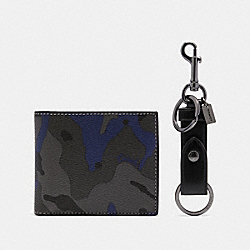 COACH F88912 - BOXED ID BILLFOLD WALLET AND KEY FOB GIFT SET IN SIGNATURE CANVAS WITH CAMO PRINT BLUE MULTI
