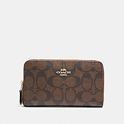 COACH F88913 Medium Zip Around Wallet In Signature Canvas IM/BROWN/BLACK
