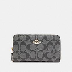 COACH F88913 - MEDIUM ZIP AROUND WALLET IN SIGNATURE CANVAS IM/BLACK SMOKE/BLACK