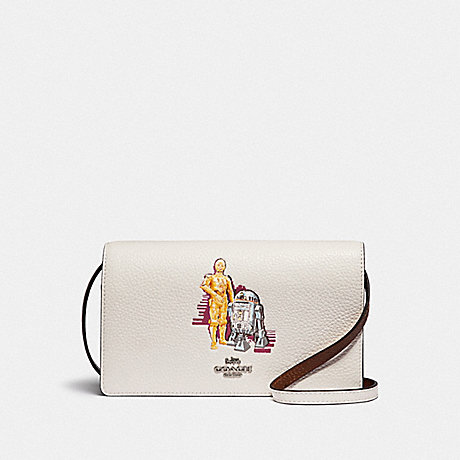 COACH F88919 STAR WARS X COACH HAYDEN FOLDOVER CROSSBODY CLUTCH WITH SIGNATURE CANVAS WITH C-3PO AND R2-D2 SV/CHALK-MULTI