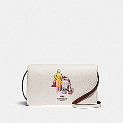 STAR WARS X COACH HAYDEN FOLDOVER CROSSBODY CLUTCH WITH SIGNATURE CANVAS WITH C-3PO AND R2-D2 - F88919 - SV/CHALK MULTI