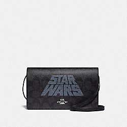 STAR WARS X COACH HAYDEN FOLDOVER CROSSBODY CLUTCH IN SIGNATURE CANVAS WITH MOTIF - F88920 - SV/BLACK SMOKE/BLACK MULTI