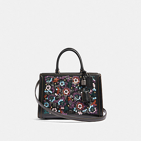 COACH F89041 ZOE CARRYALL WITH LEATHER SEQUINS QB/BLACK-MULTI
