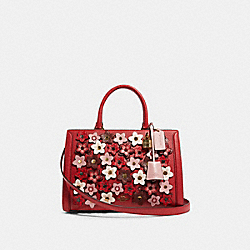 COACH F89042 - ZOE CARRYALL WITH DAISY APPLIQUE IM/TRUE RED MULTI