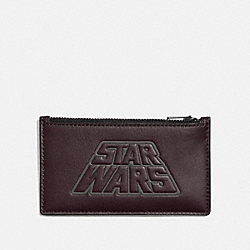 STAR WARS X COACH ZIP CARD CASE WITH MOTIF - F89057 - QB/OXBLOOD