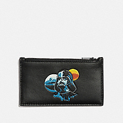 STAR WARS X COACH ZIP CARD CASE WITH DARTH VADER - F89058 - QB/BLACK