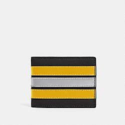 COACH F89060 - SLIM BILLFOLD WALLET WITH VARSITY STRIPE QB/BLACK/BANANA/SILVER