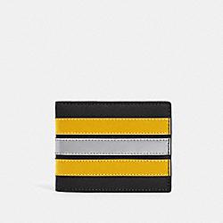 COACH F89060 Slim Billfold Wallet With Varsity Stripe QB/BLACK/BANANA/SILVER