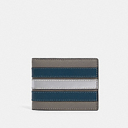 COACH F89060 - SLIM BILLFOLD WALLET WITH VARSITY STRIPE QB/HEATHER GREY/AEGEAN/SILVER