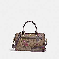 ROWAN SATCHEL IN SIGNATURE CANVAS WITH VICTORIAN FLORAL PRINT - F89152 - IM/KHAKI BERRY MULTI
