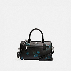 ROWAN SATCHEL WITH VICTORIAN FLORAL PRINT - F89154 - SV/BLUE BLACK MULTI