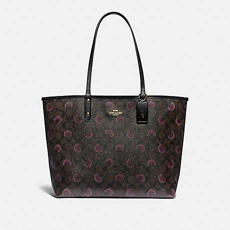 COACH F89155 REVERSIBLE CITY TOTE IN SIGNATURE CANVAS WITH MOON PRINT IM/BROWN-PURPLE-MULTI/BLACK