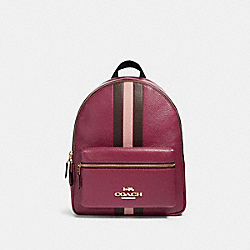 COACH F89167 - JES BACKPACK WITH VARSITY STRIPE IM/DARK BERRY MULTI