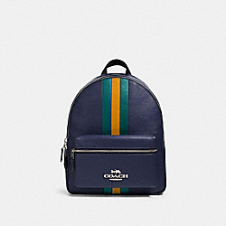 COACH F89167 - JES BACKPACK WITH VARSITY STRIPE SV/CADET MULTI