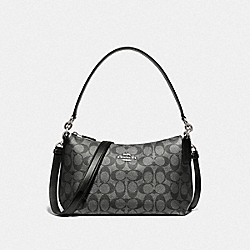 COACH F89201 - LEWIS SHOULDER BAG IN SIGNATURE CANVAS SV/GUNMETAL