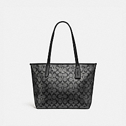 ZIP TOP TOTE IN SIGNATURE CANVAS - F89204 - SV/GUNMETAL