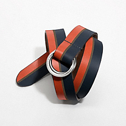 COACH F90279 - O-RING LEATHER BELT SILVER/NAVY/PERSIMMON