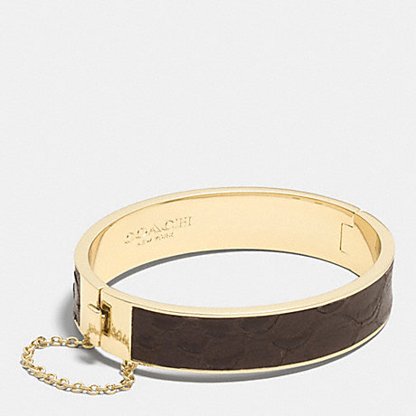 COACH f90287 EXOTIC LEATHER INLAY CHAIN HINGED BANGLE MULTICOLOR